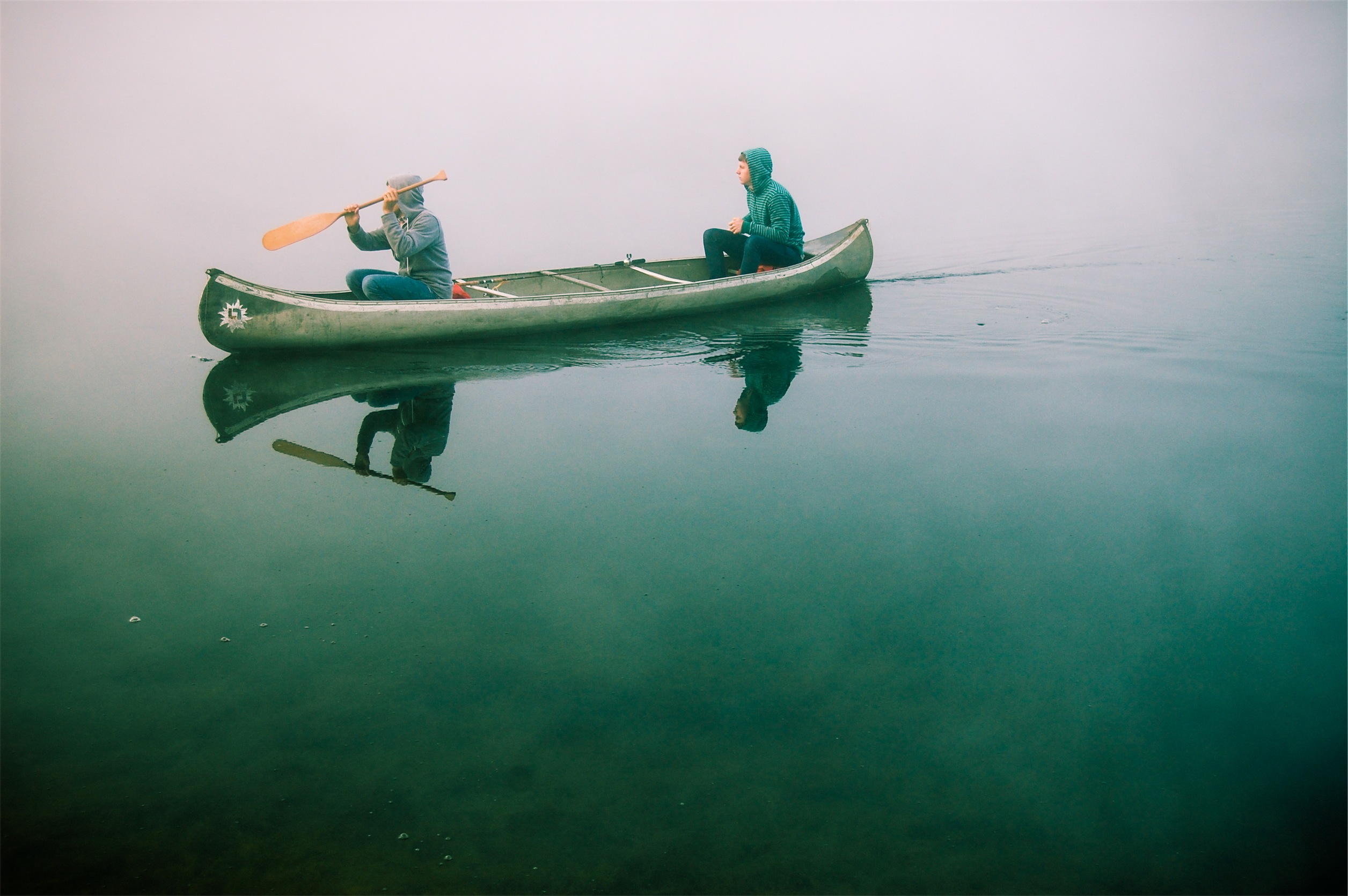 Two people out canoeing